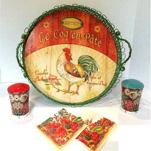 Other - Country Rooster Serving Tray Napkins Salt Pepper